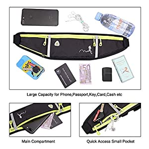 Peicees Fanny Pack for Men Women Bottle Holder Bag Waterproof Running Pouch Belt Waist Pack for Gym Travel, Adjustable Reflective Phone Holder for iPhone 12 11 pro max Xs x 6 7 8 Plus Samsung S10, etc