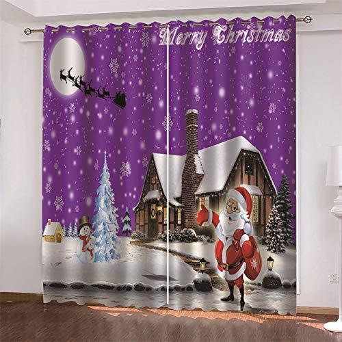 MMHJS Moderne Und Einfache Windvorhänge 3D Weihnachtsdruck Stoffvorhänge, Schlafzimmer Wohnzimmer Balkon Sonnenschutz Vorhänge, Wasserdicht Und Schalldicht (2 Stück)