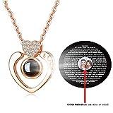 Godmoy Collar I Love You 100 Idiomas Foto Personalizada para Ella en el Collar de Plata de Ley para la Cadena Lover de 18'.