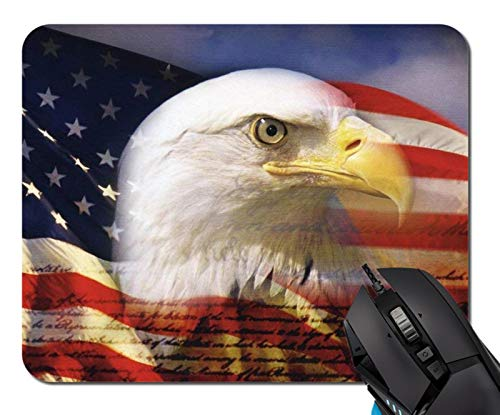 American Flag Eagle Mouse Pad Non-Skid Natural Rubber Rectangle Mouse Pads Home Office Computer Gaming Mousepad Mat