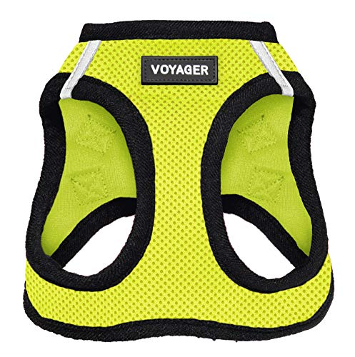 Best Pet Supplies Voyager Step-in Air Dog Harness - All Weather Mesh, Step in Vest Harness for Small and Medium Dogs Lime Green Base, M (Chest: 16-18