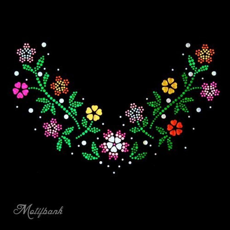 【スパングル】 スパンコールモチーフ (トレンドの お花のモチーフ Vの字) アイロン接着 XLサイズ