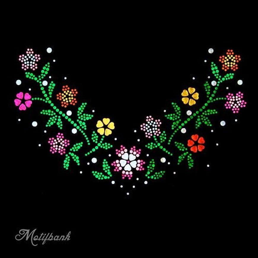 良さまだら体【スパングル】 スパンコールモチーフ (トレンドの お花のモチーフ Vの字) アイロン接着 XLサイズ