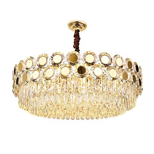 Moderno Cristal Lámparas De Araña,Oro Lujoso LED Lampara Colgante E14 Altura Ajustable Semi Flush Lámpara De Techo Para Sala De Estar Comedor-Dorado 75x26cm