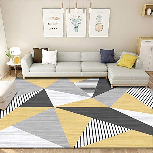 Kunsen Alfombra Grande Salon Alfombra pequeña Alfombra Amarillo Gris geométrico Moderno salón Dormitorio decoración alfombras de Comedor 180X280CM 5ft 10.9' X9ft 2.2'