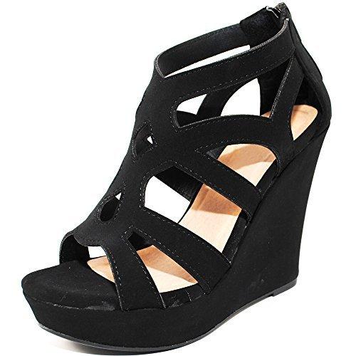 TRENDSup Collection Women Gladiator High Wedge Platform Sandal Shoes (8, Black)