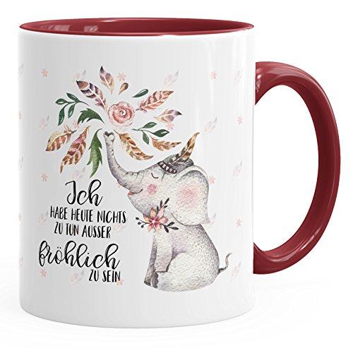 MoonWorks Kaffee-Tasse Elefant Ich Habe Heute Nichts zu tun außer fröhlich zu Sein Spruch-Tasse Geschenk-Tasse Innenfarbe Bordeauxrot Unisize