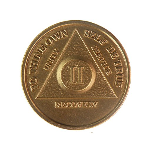 2 Year Bronze AA (Alcoholics Anonymous) - Sober / Sobriety / Birthday / Anniversary / Recovery / Medallion / Coin / Chip