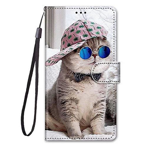 Miagon Full Body Flip PU Leder Schutzhülle für Samsung Galaxy A40,Bunt Muster Hülle Brieftasche Case Cover Ständer mit Kartenfächer,Hut Katze