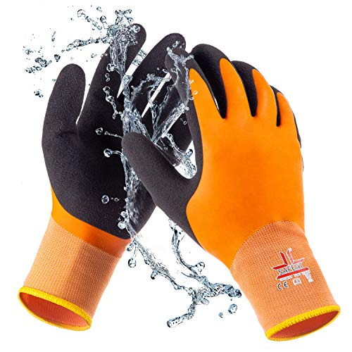SAFEAT General Waterproof Work Gloves for Men and Women – Flexible, Double Coated Latex, Multipurpose, Sandy Grip Foam Palm. (Small)