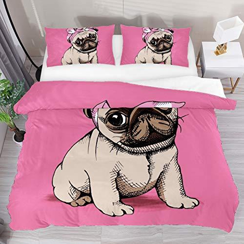 NO Juego de funda de edredón para cama doble, diseño de carlino y cachorro, color rosa