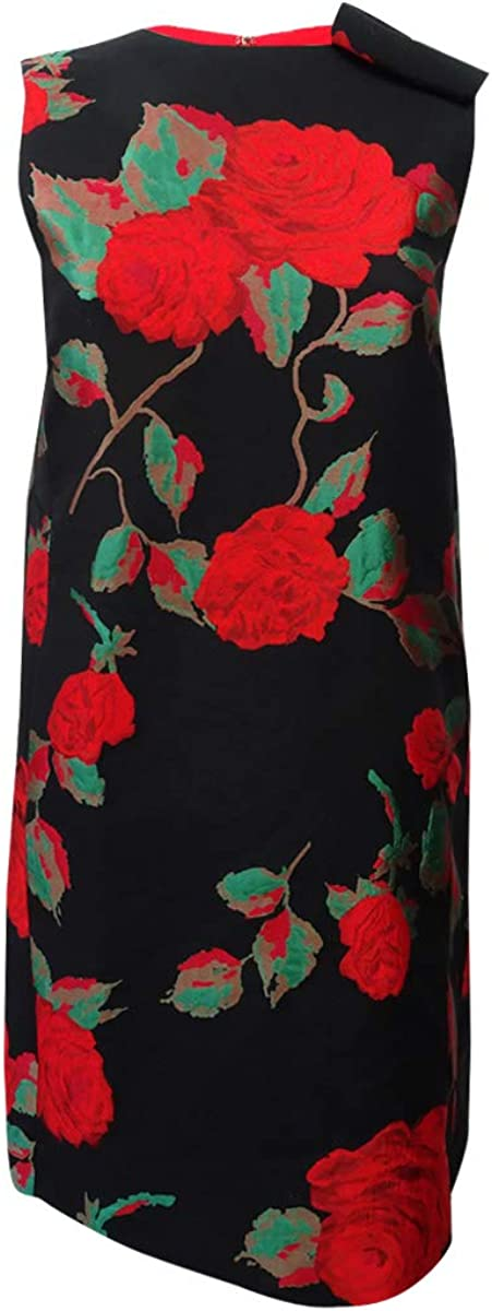 TAHARI ASL Women's Floral Jacquard Flyaway Shift Dress (2, Black/Crimson/Green)