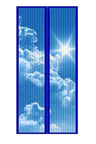 Anti-Mücken-Türschutz, blauer Himmel und weiße Wolken, automatisches Schließen, 210 x 110 cm