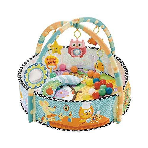 SMUOO Baby Early Education Spielzeug, Baby Activity Gym Spielmatte Spielzeug & Ball Pit Rasselglocken Lernteppich für Säuglinge, Mädchen und Jungen 0-36 Monate