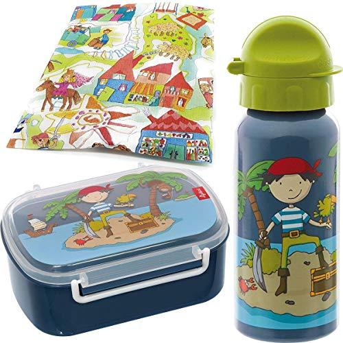 Sigikid Brotdose und Trinkflasche Pirat Sammy Samoa Lunchbox Kindergarten Schule Brotzeitbox mit Trennwand Jungen blau