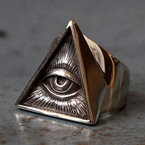 juntao Anillo de acero inoxidable para hombre, diseño de calavera, color plateado, Freemason Illuminati, anillos masónicos punk, joyería masónica (tamaño del anillo: 10)
