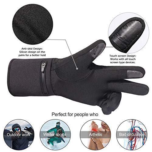 Heated Glove Liners for Men Women,Rechargeable Electric Battery Heating Riding Ski Snowboarding Hiking Cycling Hunting Thin Gloves Hand Warmer Arthritis&Raynaud's (Black, M/L)