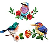 3 Pack Delicate Embroidered Patches, Birds and Flowers Embroidery Patches, Iron On Patches, Flower Patches,Sew On Applique Patch, Custom Backpack Patches for Men, Women, Girls, Kids