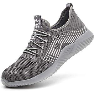 51vvg9IMNVL. SS300  - Zapatos de Seguridad Hombre Mujer Zapatillas Zapatos de Trabajo con Puntera de Acero Zapatos de Industrial Ligero Comodas Antideslizante Calzado de Seguridad Trabajo para Verano Unisex 36-47