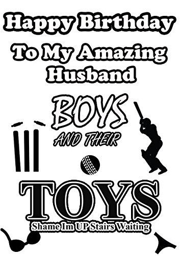Jungen und ihre Toys Cricket Geburtstag Ehemann Grußkarte Humor Karte Geburtstag A5Grußkarte
