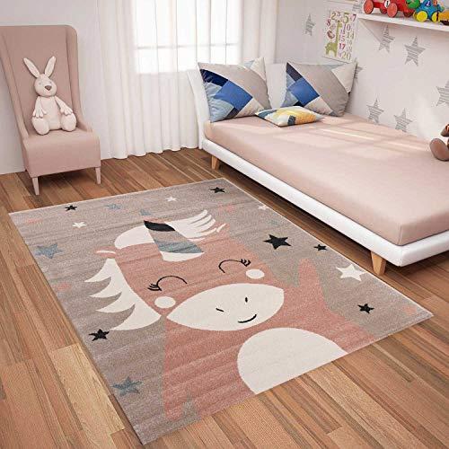 VIMODA Teppich Einhorn Kinderzimmer Flauschig, Maße:80x150 cm