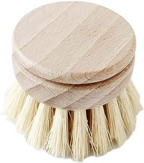 Cepillo para platos de bambú, Cepillo de limpieza para ollas de cocina, Depurador de ollas de plato de mango largo de madera con orificio para colgar, Herramienta de limpieza de cocina para el hogar