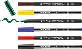 edding 4200 porseleinstift - diverse kleuren - 6 pennen - penseelpunt 1-4mm - viltstift voor het schilderen en decoreren v...