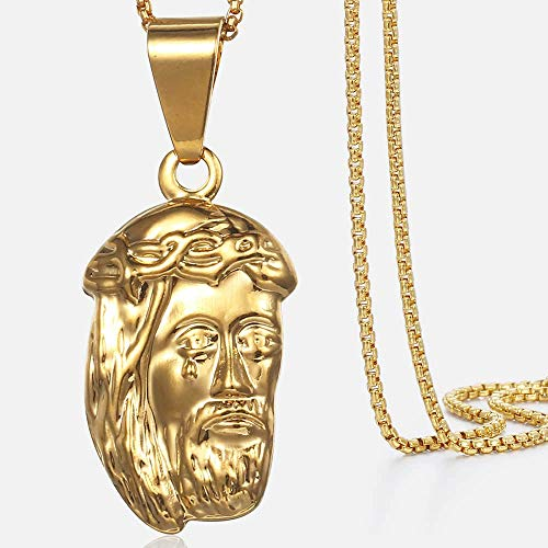 ZLININ - Collana con ciondolo a forma di Gesù Trendsmax, da donna, con ciondolo a forma di Gesù, in oro giallo, 45 cm, 50 cm, cavo KGP196 (lunghezza solo ciondolo: ciondolo)