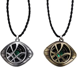 Mystart Doctor Strange Necklace Jewelry Eye of Agamotto Costume Prop Stone Pendant, Pack of 2