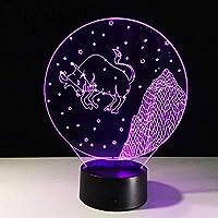 おうし座3D Led寝室テーブルランプタッチボタン星座Ledアクリルビジョンナイトライト誕生日プレゼント