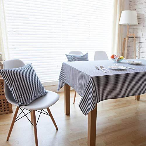 WEIFENG Mantel literario Simple a Rayas japonés y Coreano Lino de algodón Mantel Redondo Mantel Mesa de café Mantel Cubierta de Escritorio de computadora Toalla Azul 140 * 140