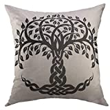 Mugod Decorative Throw Pillow Cover Black Floral Celtic Tree Life White Knot Round Home Decor Pillow case 18x18 inch