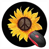 Mouse Pad Peace Sign Sunflower Flower Hippy Style, Round Mousepad, Non-Slip Rubber Base Mouse Mat for Laptop and Computer