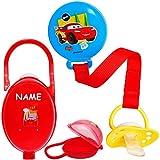 alles-meine.de GmbH Set: Schnullerbox / Dose + Schnullerkette - Disney Cars - Auto - Lightning McQueen - inkl. Name - BPA frei - Schnuller - mit Henkel - Haken - Schnullerdose - ..