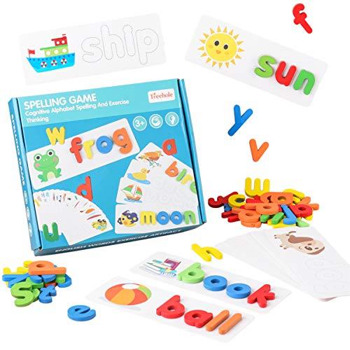 STOBOK 1 conjunto de letras de madeira, brinquedos de aprendizagem de ortografia, palavras de visão, ortografia e aprendizagem de cartões didáticos combinando com o alfabeto para crianças, meninos e meninas