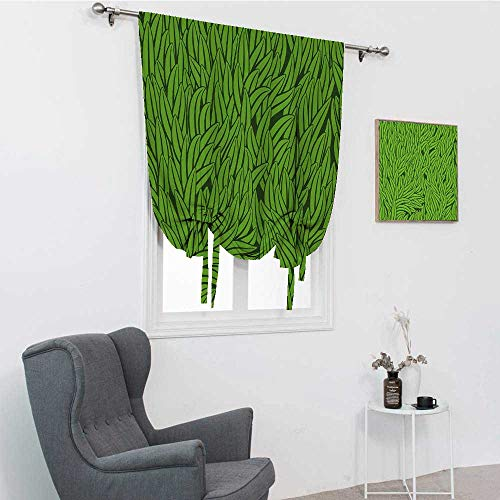 Grüne Raffvorhänge, handgezeichneter Stil, Grasmuster, abstrakt, einfaches, umweltfreundliches Wachstum, ökologischer Ballonvolant, Limettengrün Smaragd, 121,9 x 162,6 cm