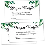 50 Pack Greenery Diaper Raffle Tickets for Baby Shower, Baby Shower Invitations Insert Cards, Bring a Pack of Diapers to Win Favors, Baby Shower Games.