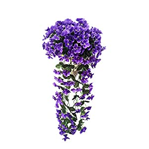 NIBESSER Hanging Flowers Plants,Artificial Violet Flower DIY Garland Hanging Flowers Wall Wisteria Basket Simulation Rattan Plant for Wedding Decorations Home Garden Party Decor(Blue 2pcs)