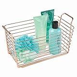 iDesign Classico Aufbewahrungskorb, mittelgroßer Drahtkorb aus Metall mit Griffen für Badzubehör oder Spielzeug, kupferfarben