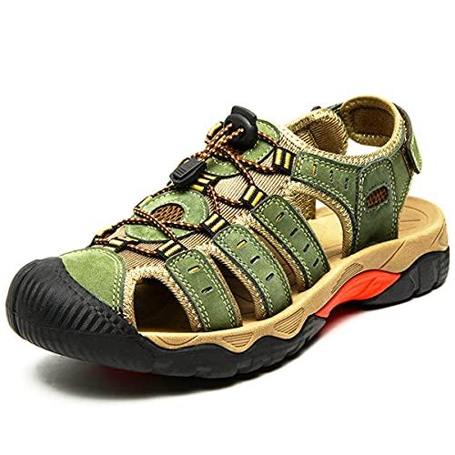 Eisrumu Sandały trekkingowe męskie outdoorowe sandały damskie letnie buty plażowe z zamkniętymi palcami sportowe buty trekkingowe dla dorosłych unisex, - E2109 Armygreen - 37.5 EU