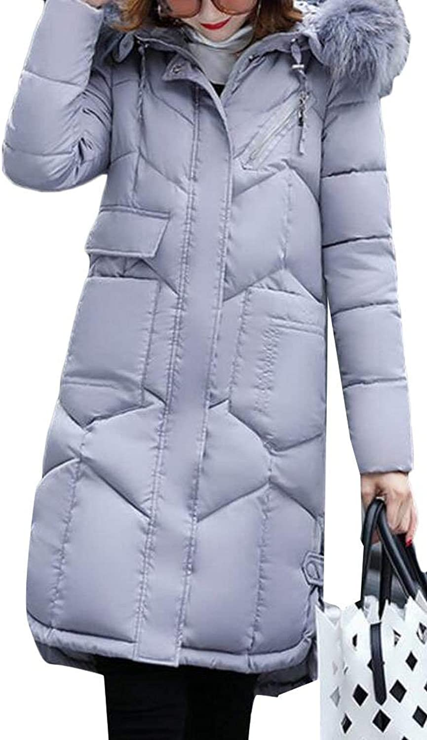 Alion Women's Winter Long Thickened Fur Collar Hooded Down Jacket