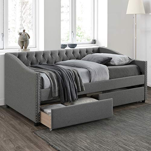 Twin Bed with Drawers, Upholstered Daybed with Storage Drawers, Wood Daybed Twin Size, No Box Spring Needed, Grey