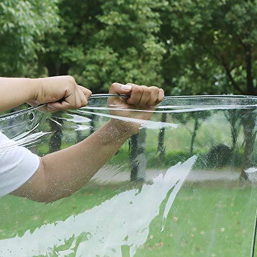 QUYUAN Transparente wasserdichte Plane mit Knopfloch, Kunststoff-Polyplane 0,3 MM, Regenvorhang für Wintergarten/Fenster/Balkon,1.8Mx2M