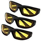 All Weather Protective Shatterproof Polycarbonate Motorcycle Riding Goggle Glasses 3 Pack Set Pouches NOT included (Night Ride Pack)