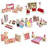 SmaUnicorn Miniature Wooden Doll House Furniture 7 Piece Set 1/12 Scale Miniature Doll House Building Blocks Mini Dollhouse for Kids Childs Gifts Family Doll House