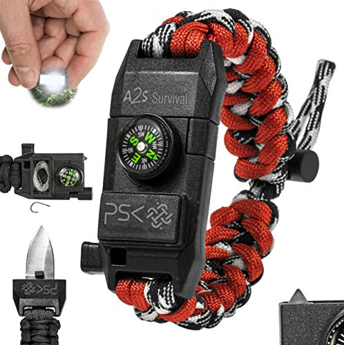 PSK Paracord Bracelet 8-in-1 Personal Survival Kit Urban & Outdoors Survival Knife, Fire Starter, Glass Breaker, Survival Whistle, Signal Mirror, Fishing Hook & String, Compass (Red)