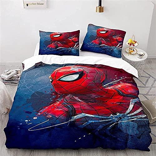 LXSMGS SPI-der-Man Juego de ropa de cama infantil, de microfibra, suave, agradable al tacto y no irritante, adecuado para jóvenes (Spider1,140 x 210 cm + 50 x 75 cm x 2)