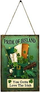BinaryABC St.Patrick's Day Shamrock Wooden Sign Plaque Door Wall Hanging Decorations(Pride of Ireland)