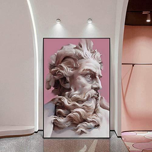 UIOLK Figura mitológica Poseidón Busto Arte de Pared, Carteles y Grabados de Estatua Rosa de Estilo nórdico, Pinturas de decoración de pasillos