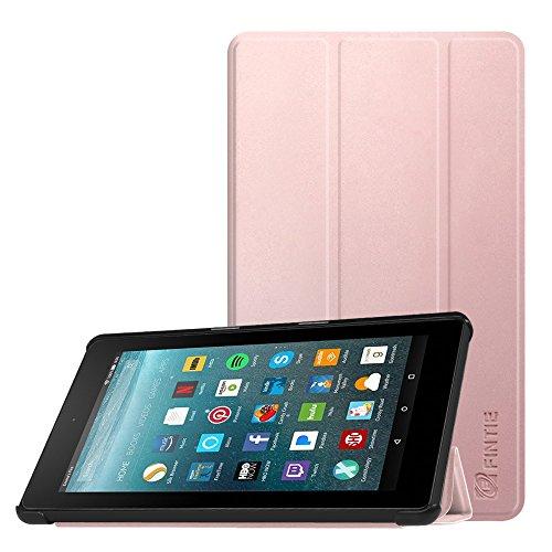 Fintie Hülle kompatibel für Amazon Fire 7 Tablet (7. Generation - 2017 Modell) - Lightweight Schutzhülle Tasche mit Standfunktion und Auto Schlaf/Wach Funktion, Roségold
